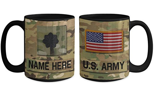 US Army Lieutenant Colonel (LTC), O5 Mug - Personalized - Customize with Name/Text/Rank; 15 oz Cup - Gift for Veteran, Dad, Husband, Mom, Wife, Brother, Sister, Son, Daughter