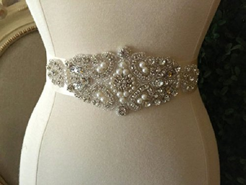 Rhinestone Bridal Sash, Wedding Dress Sash, Ribbon Bridal Belt