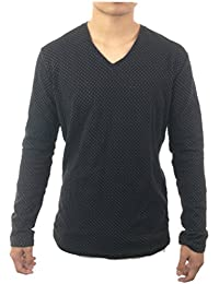 Mens Long Sleeve V-Neck Designer Fashion Slim Fit Casual Top Blouse T-Shirt Black With White Dots