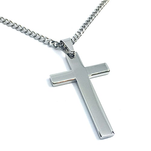 y Christian Cross Pendant Necklace with Chain Men's Women's Stainless Steel Simple Style … 20