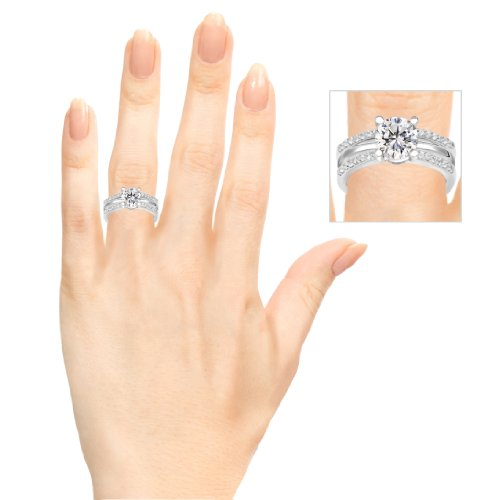 TwoBirch Rose Gold Plated Sterling Silver Delicate Traditional Style Ring Enhancer with Cubic Zirconia (0.28 ct. tw.) by TwoBirch (Image #8)