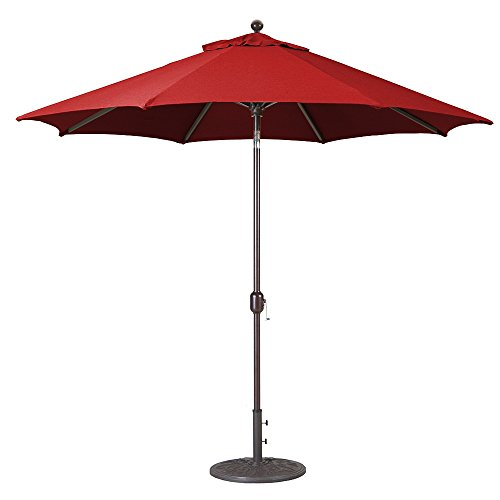 9-Ft Galtech (Model 737) Deluxe Auto-Tilt Umbrella w/Jockey Red Sunbrella Fabric & (Deluxe Auto Tilt Umbrella)