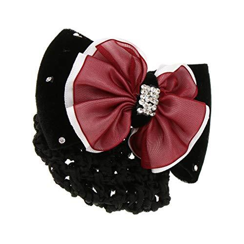 (Womens Bow Barrette Hair Clip Bowknot Bun Snood Ballet Hairnet Accessories (Color - Red))