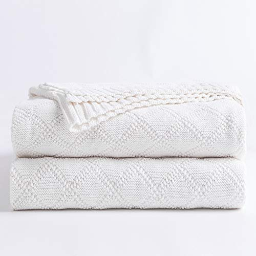 100% Cotton White Cable Knit Throw Blanket for Couch with Bonus Laundering Bag - Large 50 x 60