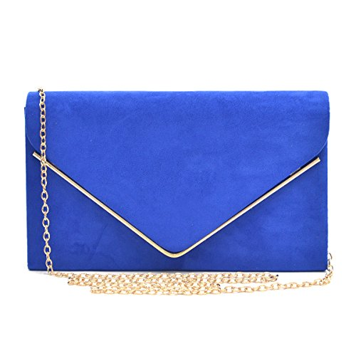 Handbag Suede Womens (Womens Envelope Flap Clutch Handbag Evening Bag Purse Velvet Suede Party Blue)