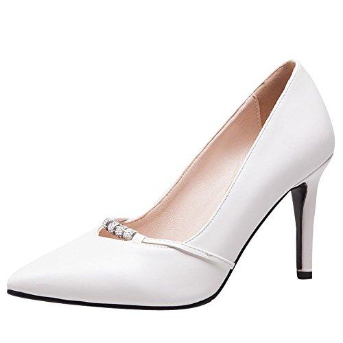 Carolbar Womens Bout Pointu Perlé Talons Hauts Escarpins Pompes Chaussures Blanc
