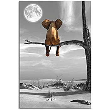 Canvas Wall Art Animal Resting Elephant Look at The Moon Wall Pictures Giclee Wall Decor on Canvas Stretched Artwork Living Room Bedroom Ready to Hang