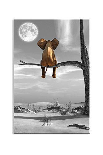 Canvas Wall Art Animal Resting Elephant Look at The Moon Wall Pictures Giclee Wall Decor on Canvas Stretched Artwork Living Room Bedroom Ready to Hang (Large Art Room Living)