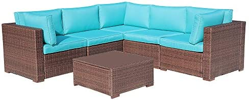 6 Pcs Wicker Patio Furniture Outdoor Sectional Conversation Set Sofa, Brown Wicker with Turquoise Seat Cushions Glass Coffee Table Backyard, Deck, Garden