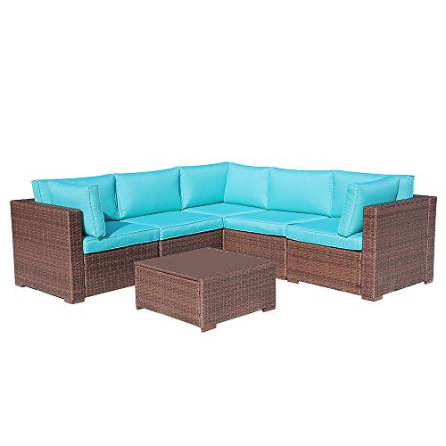 OC Orange-Casual 6 Pcs Wicker Patio Furniture Outdoor Sectional Conversation Set Sofa, Brown Wicker with Turquoise Seat Cushions Glass Coffee Table Backyard, Deck, Garden