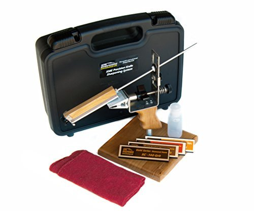 KME Precision Knife Sharpener System with 4 Gold Series Diamond Hones - Base Included (Best Knife Sharpening Stone System)