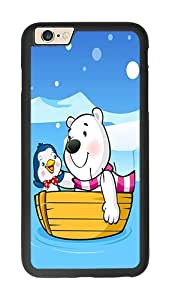 iPhone 6 Case, Cute Bear And Penguin On Boat Slim & Flexible Silicone TPU Skin Cover For iPhone 6