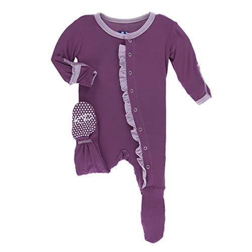 - Kickee Pants Little Girls Solid Classic Ruffle Footie with Snaps - Amethyst with Sweet Pea, Newborn