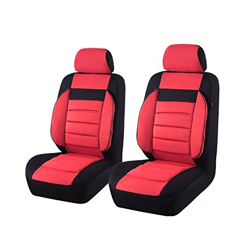 (CAR PASS Universal Two Front Car Seat Covers Set - Black / Red)
