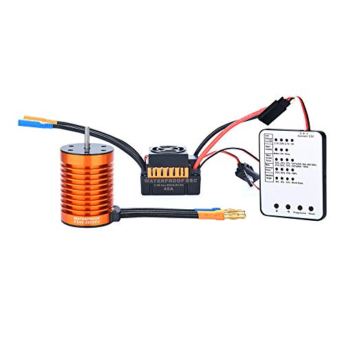 (for 1/10 RC Cars Brushless Motor 4 Pole 12 Slot High-Torque Motor F540 3000KV Mutiple Protection Features Waterproof Brushless Motor/45A ESC/Programming Card (C))