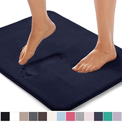 Gorilla Grip Original Thick Memory Foam Bath Rug (30x20) Cushioned, Soft Floor Mats, Absorbent Kids Bathroom Mat Rugs, Machine Wash + Dry, Luxury Plush Comfortable Carpet for Bath Room (Navy Blue)