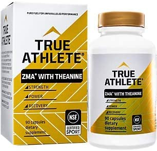 True Athlete ZMA with Theanine Combination of Zinc Magnesium to Help Increase Muscle Strength Power, NSF Certified for Sport 90 Capsules