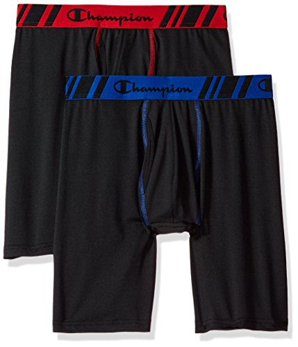 Champion Men's Tech Performance Long Boxer Brief, Black/Black, Medium, 2-Pack
