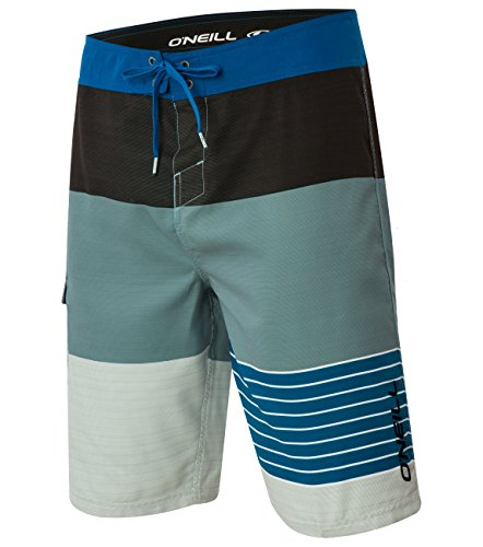 O'Neill Men's Catalina Avalon Lennox Stripe Boardshort, Charcoal Blue Lite - 30 (Boardshorts Suede Embroidered)