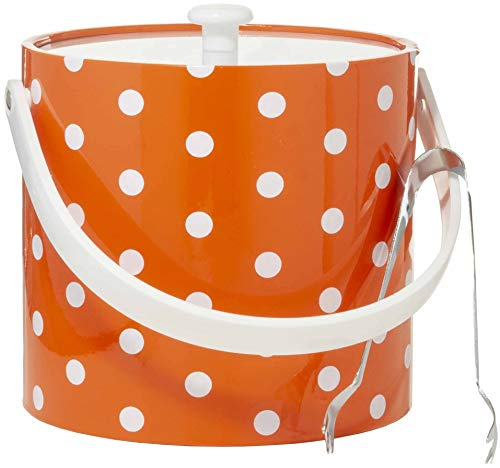 (Hand Made In USA Orange With White Polka Dots Double Walled 3-Quart Insulated Ice Bucket With Bonus Ice Tongs)