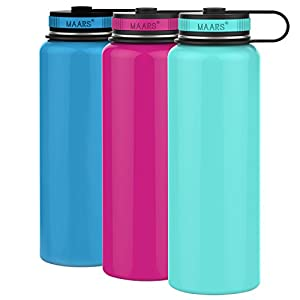 Maars Eddy Wide Mouth Double Wall Vacuum Insulated Stainless Steel 40 oz. Sports Water Bottle | 3 Pack