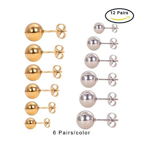 PandaHall Stainless Earrings Diameter Platinum