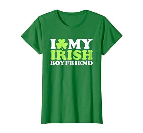 Womens I love my irish boyfriend T-Shirt Large Kelly Green (Boys Love Green Irish)