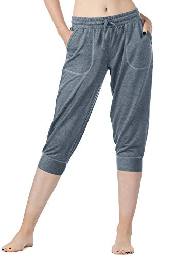 - icyzone Women's French Terry Jogger Lounge Sweatpants - Active Capri Pants for Women (L, Marine Blue)