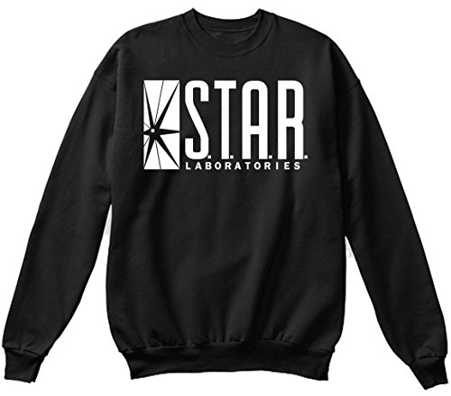 Star Laboratories Star Labs Sweatshirt Sweater Crew Neck Pullover - Premium Quality (Large, Black) ()