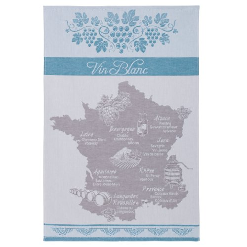 (COUCKE French Jacquard Cotton Kitchen Dish Towel French Cuisine Collection, Vin Blanc (White Wine) PJ, 20-Inches by 30-Inches, Blue)