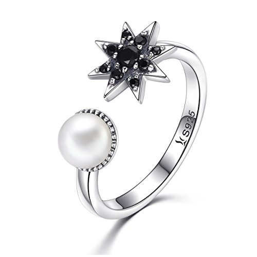 Pearl Daisy Ring - BAMOER 925 Sterling Silver Mysterious Eight Pointed Star and Freshwater Pearl Ring for Women