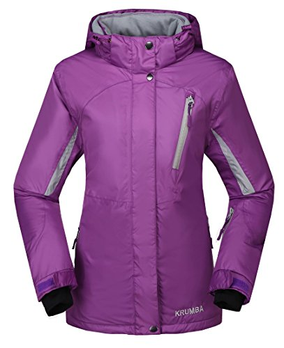 Krumba Women's Sportswear Outdoor Waterproof Windproof Hooded Ski Jacket Purple Size M