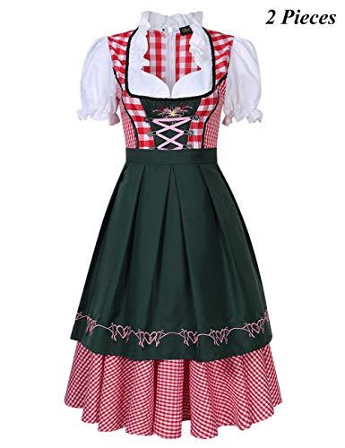 KoJooin Women's German Dirndl Dress 3 Pieces Oktoberfest Costumes (XL, Red-(2pcs Set))