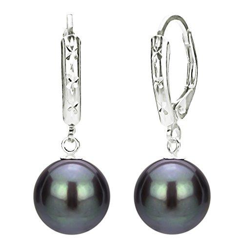 Freshwater Cultured Black Pearl Earrings Sterling Silver Dangle Leverback Graduation Gift 9-9.5mm
