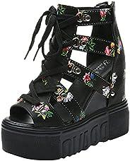 Fullwei Sandals for Women Dressy,Women 2021 Comfy Chunky Platform Gladiator Lace Up Cute Strap Roman Peep Toe