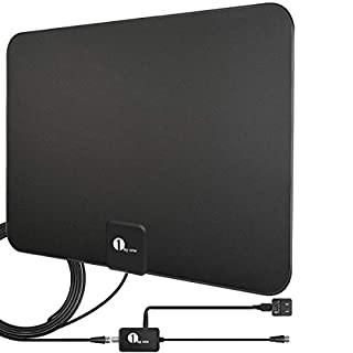 [Actualizado 2019] 1byone Antena de TV HD de interior digital amplificada de hasta 80 millas de alcance, Amplificador de señal Amplificador compatible con 4K 1080P UHF VHF Freeview Canales HDTV con cable coaxial