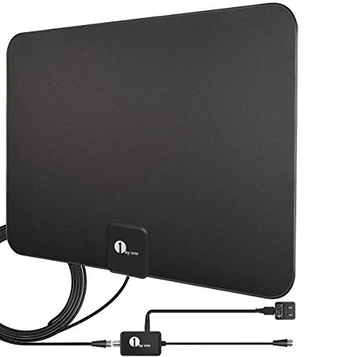 [Upgraded 2019] 1byone Digital Amplified Indoor HD TV Antenna Up to 80 Miles Range, Amplifier Signal Booster Support 4K 1080P UHF VHF Freeview HDTV Channels, 10ft Coax Cable (Digital Antenna Hdtv)