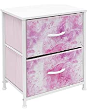 Sorbus Nightstand with 2 Drawers - Bedside Furniture & Accent End Table Chest for Home, Bedroom Accessories, Office, College Dorm, Steel Frame, Wood Top, Easy Pull Fabric Bins (2-Drawer, Tie-Dye Pink)