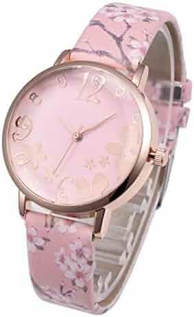 4e1743f5786 Top Plaza Womens Girls Fashion Pink Leather Analog Quartz Wrist Watch  Elegant Beautiful Arabic Numerals Casual