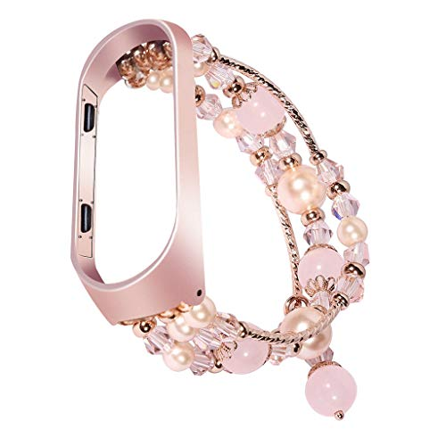 BIYATE Compatible with Xiaomi Mi Band 4, Women Fashion Agate Pearl Bracelet Strap with Metal Protector Case Handmade Elastic Replacement Accessories for Xiaomi Mi Band 4