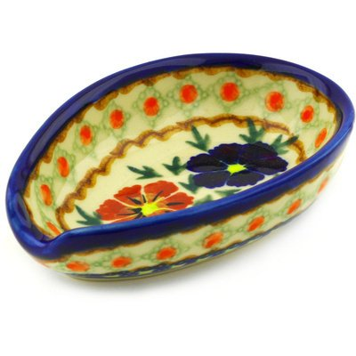 Paradise Porcelain Spoon (Polish Pottery Spoon Rest 5-inch Paradise Poppy UNIKAT)