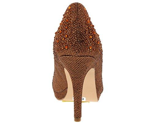 Collezione De Blossom Womens Robin-46 Punta Tonda Dressy Mid Heel Pump Bronze Sparkle