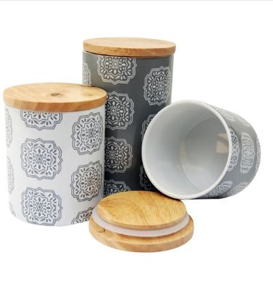 Le Chef Ceramic Storge Canisters, Grey/White (Set of 3), Durable and Decoartive Wood, Airtight Bamboo Lids, Hand Wash Care, Eco-friendly