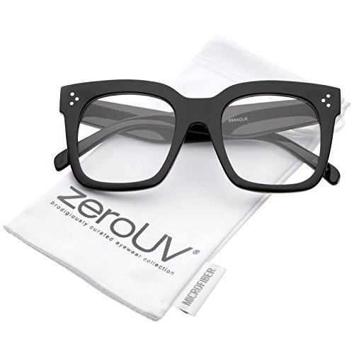 - Oversize Wide Temple Flat Lens Horn Rimmed Square Glasses 51mm (Shiny Black/Clear)