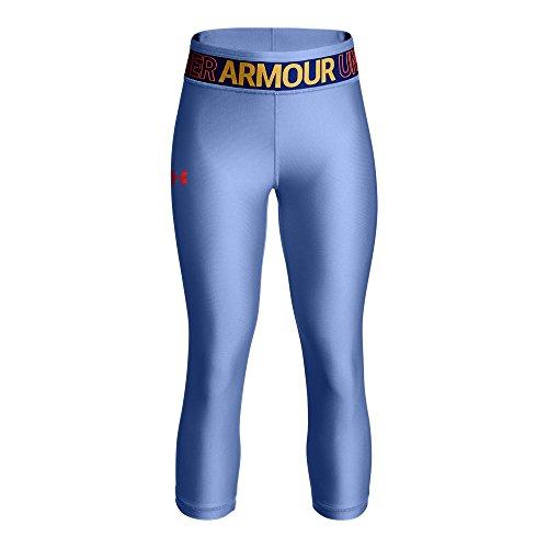 Under Armour Girls' HeatGear Armour Capris, Talc Blue /Neon Coral, Youth Medium