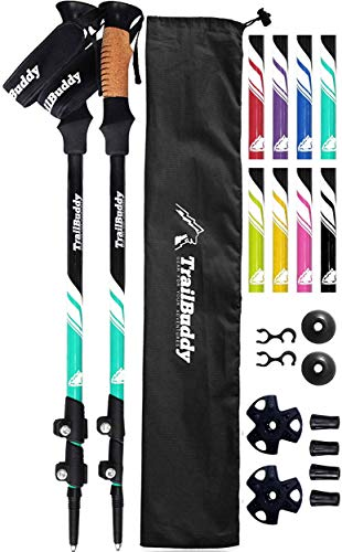 TrailBuddy Lightweight Trekking Poles - 2-pc Pack Adjustable Hiking or Walking Sticks - Strong Aircraft Aluminum - Quick Adjust Flip-Lock - Cork Grip, Padded Strap - (Aqua Sky)