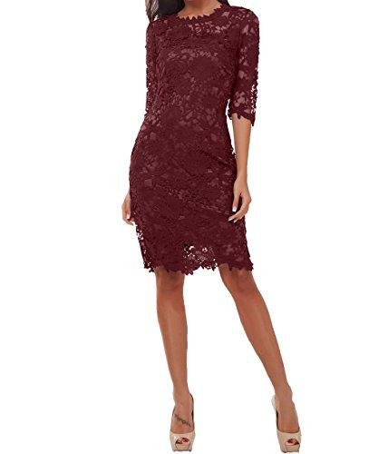 3 Knielang Burgundy mit Damen Kurzes Charmant Etuikleider Langarm Brautmutterkleider Festlichkleider Abendkleider 4 Partykleider z75q8wqn