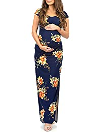 Women's Shortsleeve Ruched Bodycon Maternity Dress with Side Slits - Made in USA