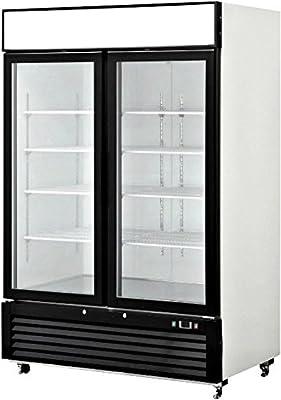 55 Inch Refrigerator Double Glass Door Showcase Reach-in Commercial Grade Restaurant - 46 Cu. Ft. - Auto Defrost - Digital Control - 8 Adjustable Shelves, MCF-8716