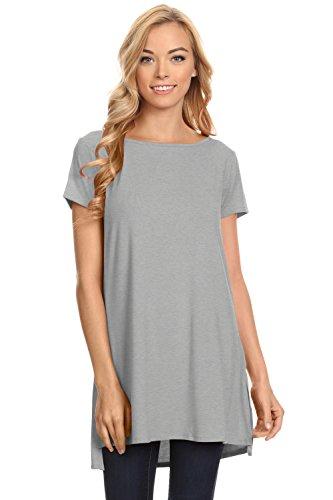 Womens Solid Side-Slit Short Sleeve and Sleeveless Round Neck Tunic Top Heather Grey (Heather Grey Sleeveless)